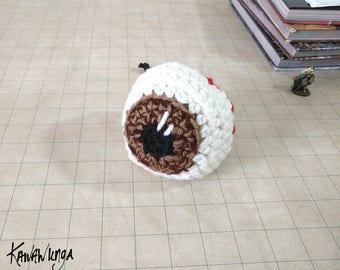 Drawstring Bag, dice bag, Brown Eyeball bag, fabric lined, RPG dice bag, game dice bag, Tabletop Gaming, gift for him