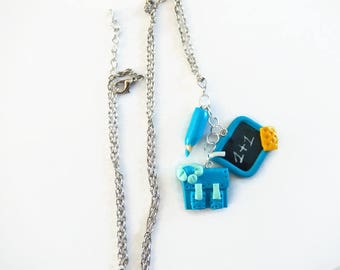school bag, pencil, charcoal polymer clay necklace gift idea for school