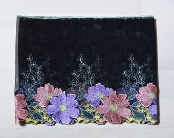 """soft lace Fabric one yard purple black  7"""""""