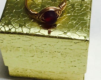 Garnet Red Sea Glass Gold Wire Wrapped Ring