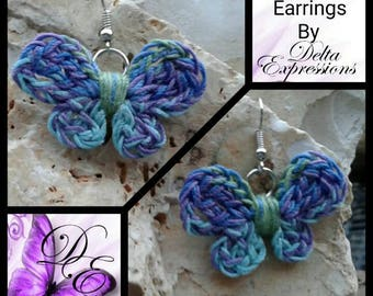 Butterfly Earrings / Crocheted Butterfly Earrings