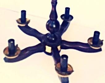 Retro mid-century Vintage wooden chandelier Wood brass 5 arms lighting