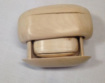 Bandsaw box with drawer and scroll saw box with drawer in the shape of rocks.