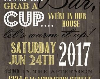 Stock the Bar- Housewarming Invitation, printable 5x7