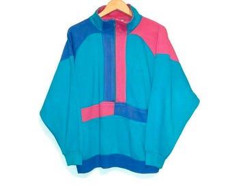 Vintage Sweater Color Block Zip Up Size Large