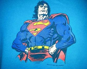 Vintage Superman T-Shirt 1997 DC Comics - Color Blue - Size Large
