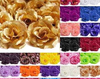 "20pcs Artificial Flower Heads Big Rose Wedding Party Bridal Clips Confetti Table Decor Bouquets, 70mm/2.75"", 24 Colors, V-HS0008"