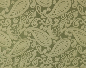 SCALAMANDRE ANGELIQUE PAISLEY Silk Damask Fabric 10 Yards Green
