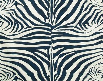 LEE JOFA KRAVET Zebra Cotton Linen Fabric 10 Yards Lapis Blue
