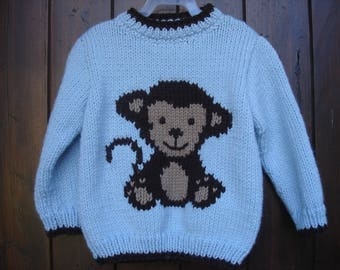Baby boy pattern sweater monkey 100% handmade from 3 to 6 years