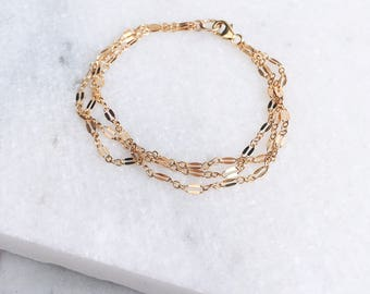 Three Layers Bracelet / Gold Chain / Delicate Bracelet / Dainty Bracelet /14 KT Gold Fill / Chain Bracelet / Gold Filled