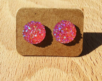 Shiny pink stud earrings
