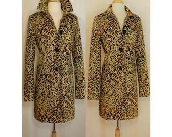 Women's coat, leopard coat, leopard print coat, long coat, leopard overcoat, maxi coat, animal print coat, ladies coat, Worthington Stretch