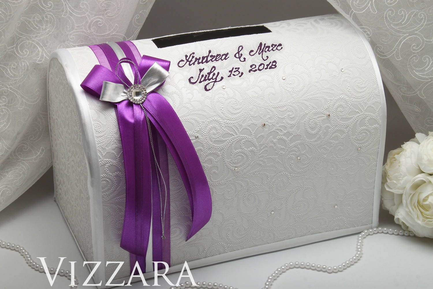 Silver Wedding Gift: Wedding Boxes Plum And Silver Wedding Wedding Gift Box Plum
