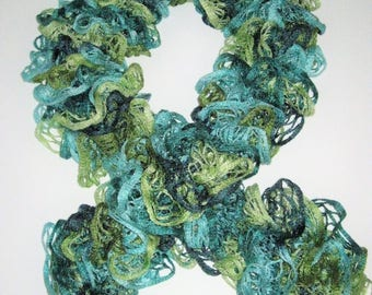 Shades of green/blue ruffle scarf tie