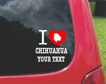2 Pieces I Love Chihuahua Mexico Stickers Decals 20 Colors To Choose From.  Free U.S.A Free Shipping
