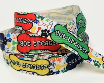 "7/8"" inch  Got Treats on Colorful bones and paws dog collar- Printed Grosgrain Ribbon for Hair Bow - Original Design"