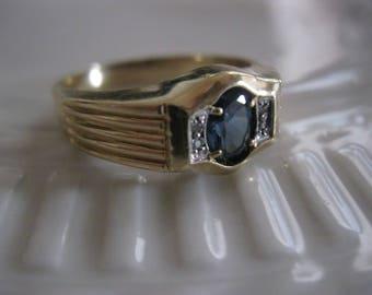 """Vtg Estate Art Deco Men's Ring London Blue Topaz Diamond RARE 1930s Sz 12 """"Buckingham Blue"""""""