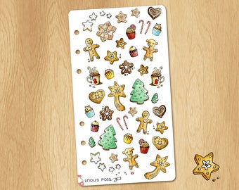 Mini Watercolor Stickers for Christmas Biscuits - Perfectly Fitting Planners Like Filofax Personal or Kikki.k Medium