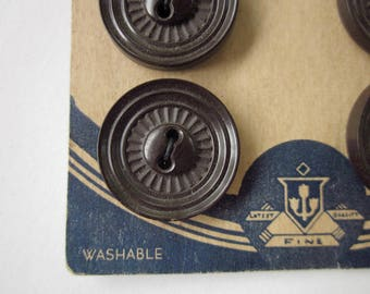 """6 Vintage Buttons, 7/8"""" Dark Brown Plastic, Two-hole Sew-through Buttons, on Original Card"""