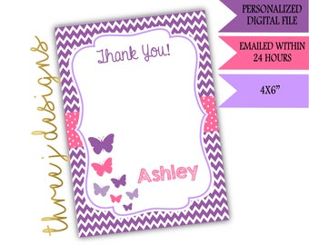 Butterfly Baby Shower Thank You Card - Personalized - Purple and Pink - Digital File - J002