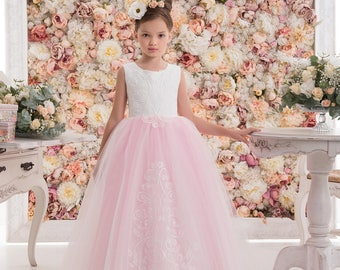 Blush Pink Flower Girl Dress -- Blush Pink Floor Length Tulle Dress