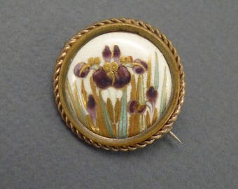 Gold filled Hand Painted Irises- Porcelain Button Brooch