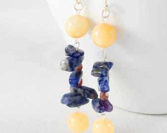 Denim Lapis Earrings - Chunky Earrings - Semi Precious Stone Earrings - Blue Gemstone Earrings - Long Boho Earrings - Hippie Earrings