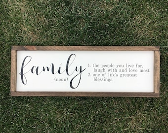 Family sign | family definition | family framed sign | rustic home decor | blessings sign | family is forever | definition of family sign |