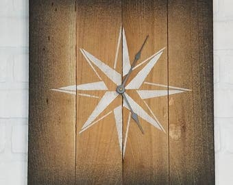 Large Wood Wall Clock - Silhouette Star