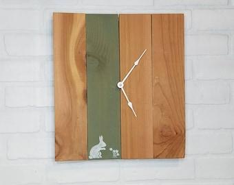 Large Wood Wall Clock - Flower Rabbit