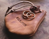 Leather Ring Pouch, Wedding Ring Holder, Ring Bag, Jewellery Pouch, Small Leather Pouch, Coin Purse, Drawstring Pouch