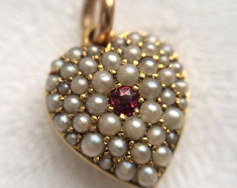 Victorian Pearl & Ruby heart pendant - rose gold - antique c1900 - puffy heart