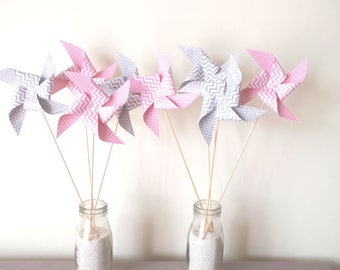 8 spikes windmills with polka dots and pink and gray chevron - party table decoration, candy bar, birthday
