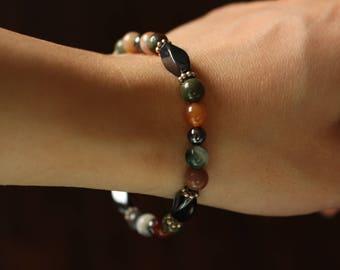 Stone bracelet , hematite, natural stones