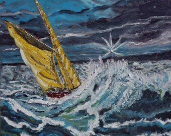 """Oil painting, """"Stormy See"""" , signed, 20"""" x 20"""" Canvas , Costa Rica, Boats, Impressionism, Seascape, Peru, offer special elinca24"""