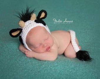 Cow Hat - Newborn Props - Cow Bonnet - Newborn Cow Hat and Tail Set - Farm Animal Props - Newborn Animal Props - Cow Prop - Made to Order