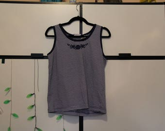 Erika & Co. Blue and White Striped Rose Tank Top