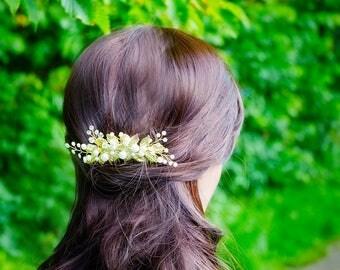 Gold hair comb Pearl hair comb Gold hair piece Bridal comb Wedding hair piece Bridal Gold headpiece Vintage wedding hair comb Gold hair clip