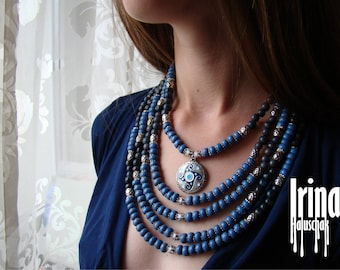Sale Ukrainian style necklace with svarga. Svarga necklace. Necklace to vyshyvanka. Blue ceramics bead necklace. Bead necklace