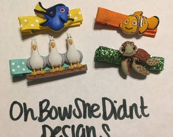 Disney inspired finding nemo dory hair clip barrettes