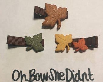 Autumn leaves leaf hair clip barrettes