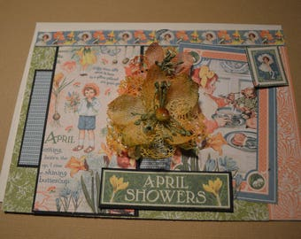 """April Showers All Occasion Card, 5' x 7"""", Children's Hour"""