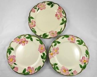 """Vintage Franciscan Desert Rose Dinner Plates Set of 3 ~ USA ~ 1940's ~ 10.5"""""""