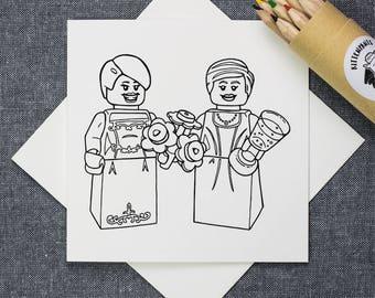Brides Colour-in Same Sex Wedding Archival Cotton Card