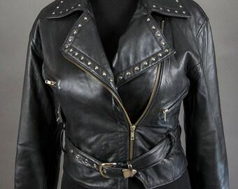 Vintage 70's-80's Black leather Studded Jacket, Vintage Leather  Biker Chic, Vintage Punk Motorcycle Jacket