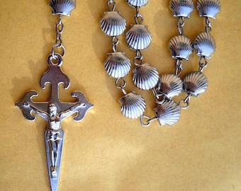 Camino De Santiago St. James Scallop Shell Beads Pilgrim Rosary Necklace