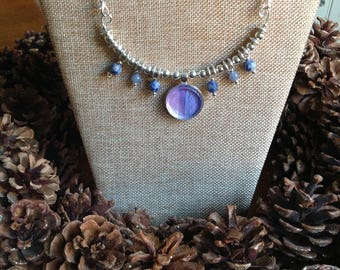 Watercolor Necklace / Indigo Collection/ w Beads