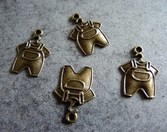 Little baby overalls 4 charms bronze
