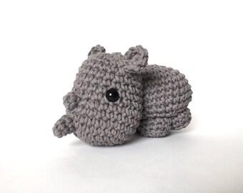 crochet amigurumi Rhino toy, Stuffed Toy, Plush, Plushie, Stuffed Animal, Toy, Stuffed Rhinoceros, baby toy, Baby Shower Gift, crochet rhino